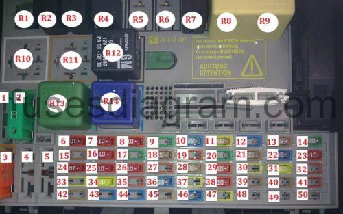 Fuse and relay box    diagram    OpelVauxhall Astra G