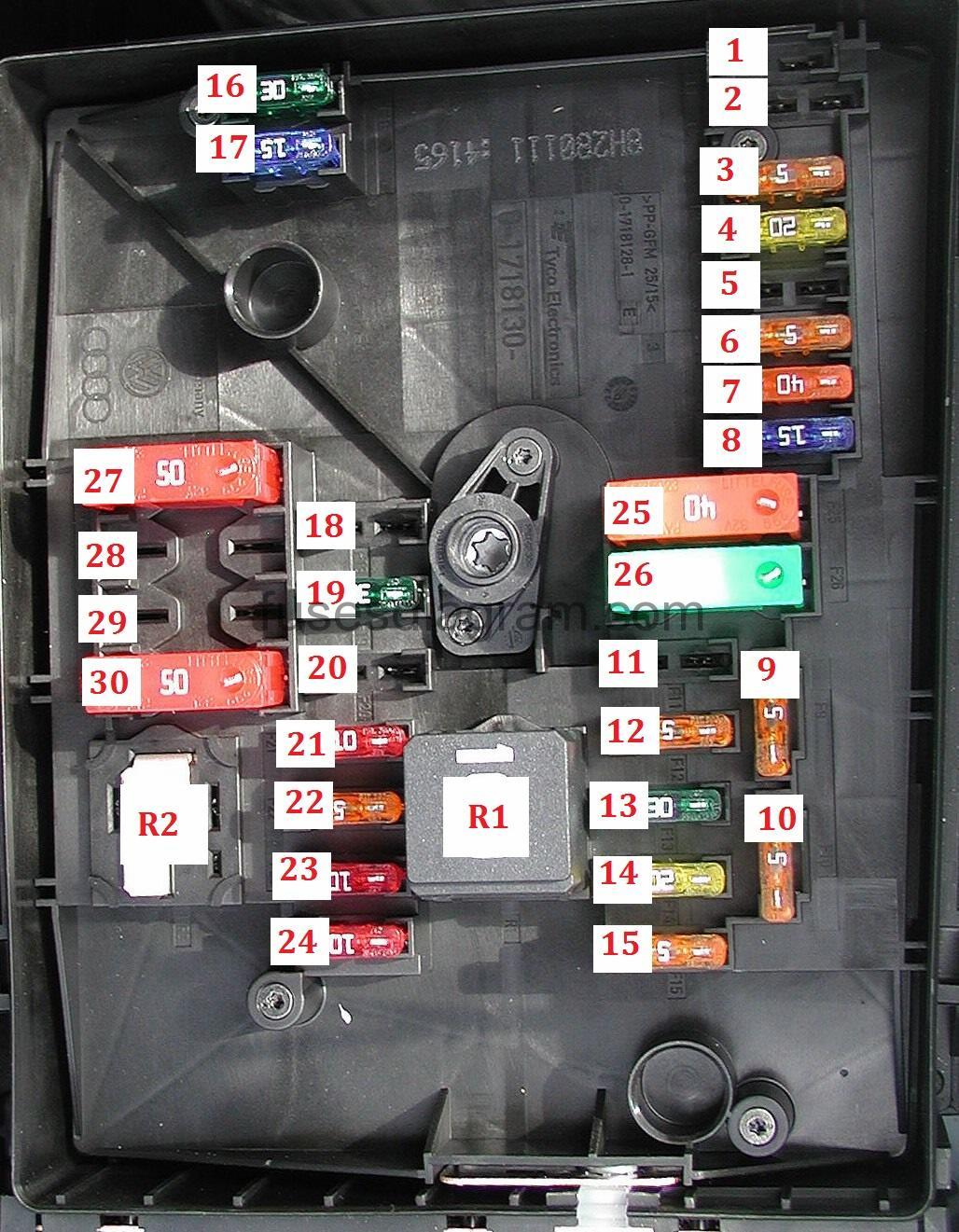 Fuse Box Volkswagen Golf 6 Relay Diagram Type 1
