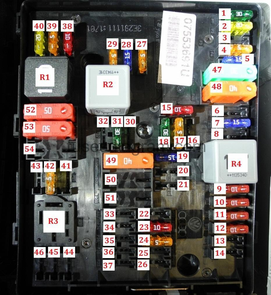 Fuse box Volkswagen Golf 6  Fuses box diagram