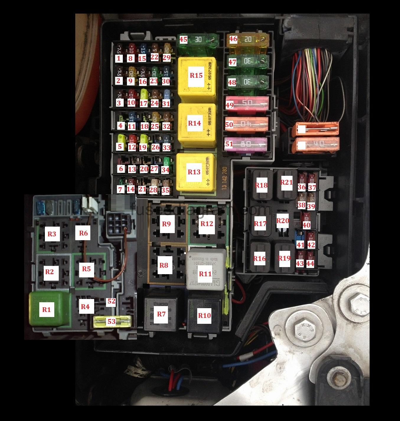 Fuse Box Opel Vauxhall Corsa C Gm Van Diagram
