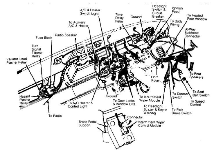 Fuse box diagram Dodge Ram Van 1983-1989